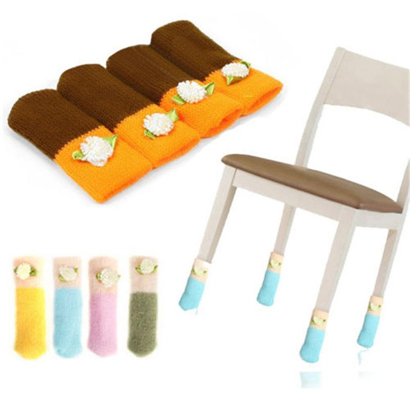 4pcs Chair Leg Socks Home Fashion Protect Floor Knit Flower Leg Sleeve  Table Chair Foot Cover Sock 0