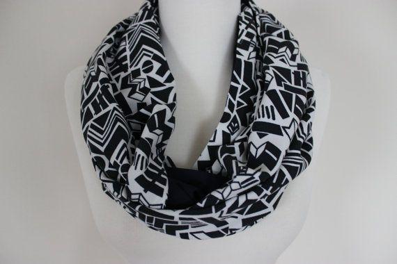 Tribal Print, Geometrical Scarf, Navy Blue Black Loop Scarf, Bohemian Womens Scarves, African Print Scarf, Boho Print Scarf,Printed Scarves Material: