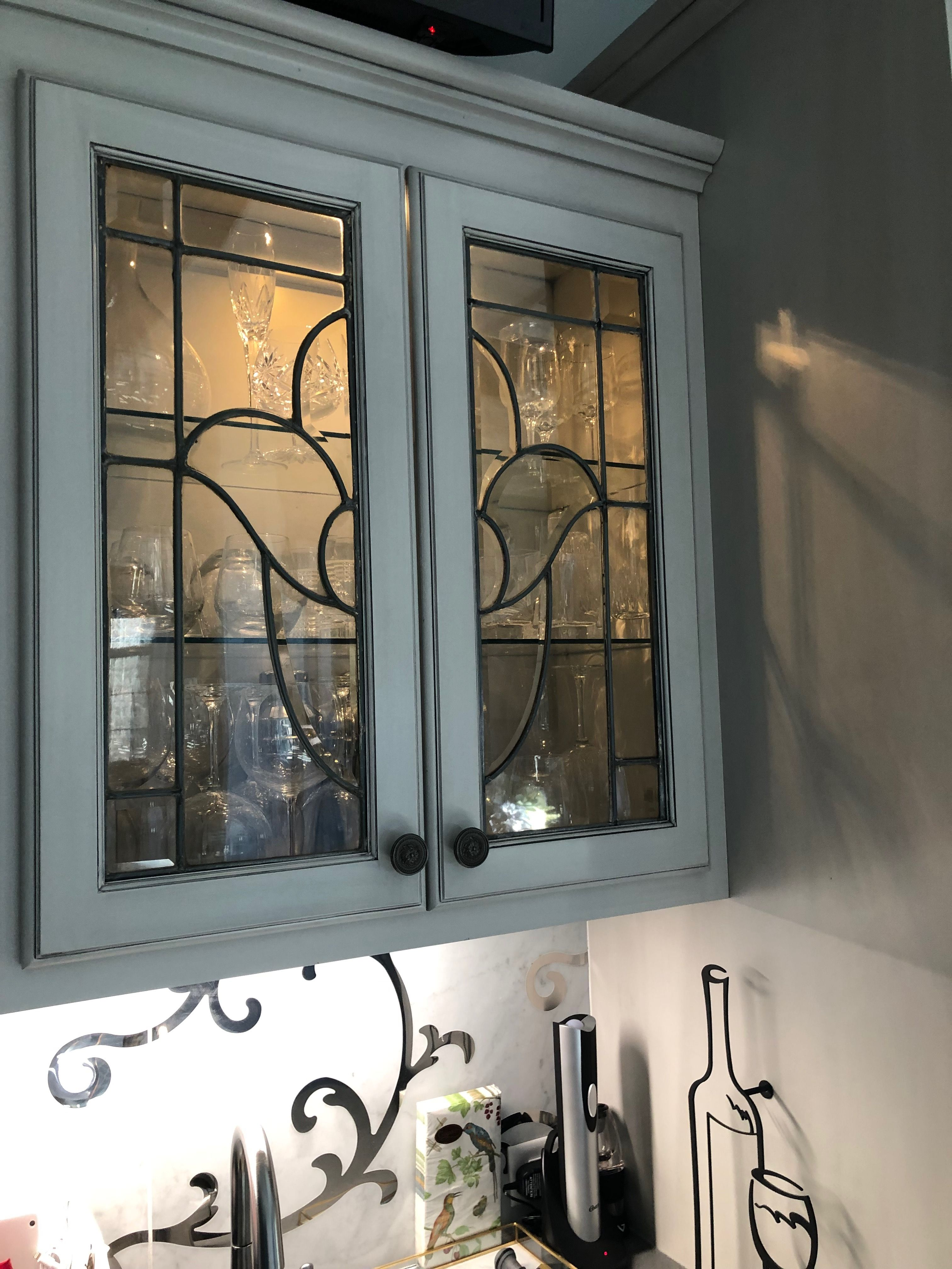 Cabinet Leaded Glass Doors From 1920 S House Found At Caravati S Arch Salvage Caravatis Com Leadedglas Leaded Glass Door Kitchens And Bath Kitchen Layout