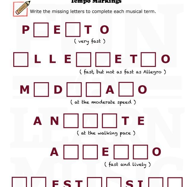 Music-Worksheets-Musical-Terms-Tempo-004 | music | Pinterest ...