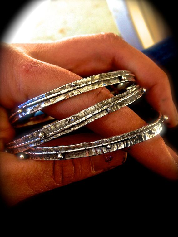 Silver Bangle Bracelets Rustically Textured - Boho Bangle