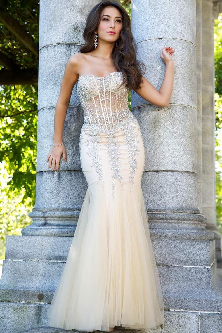 sweetheart mermaid floor length embellished with beads tulle