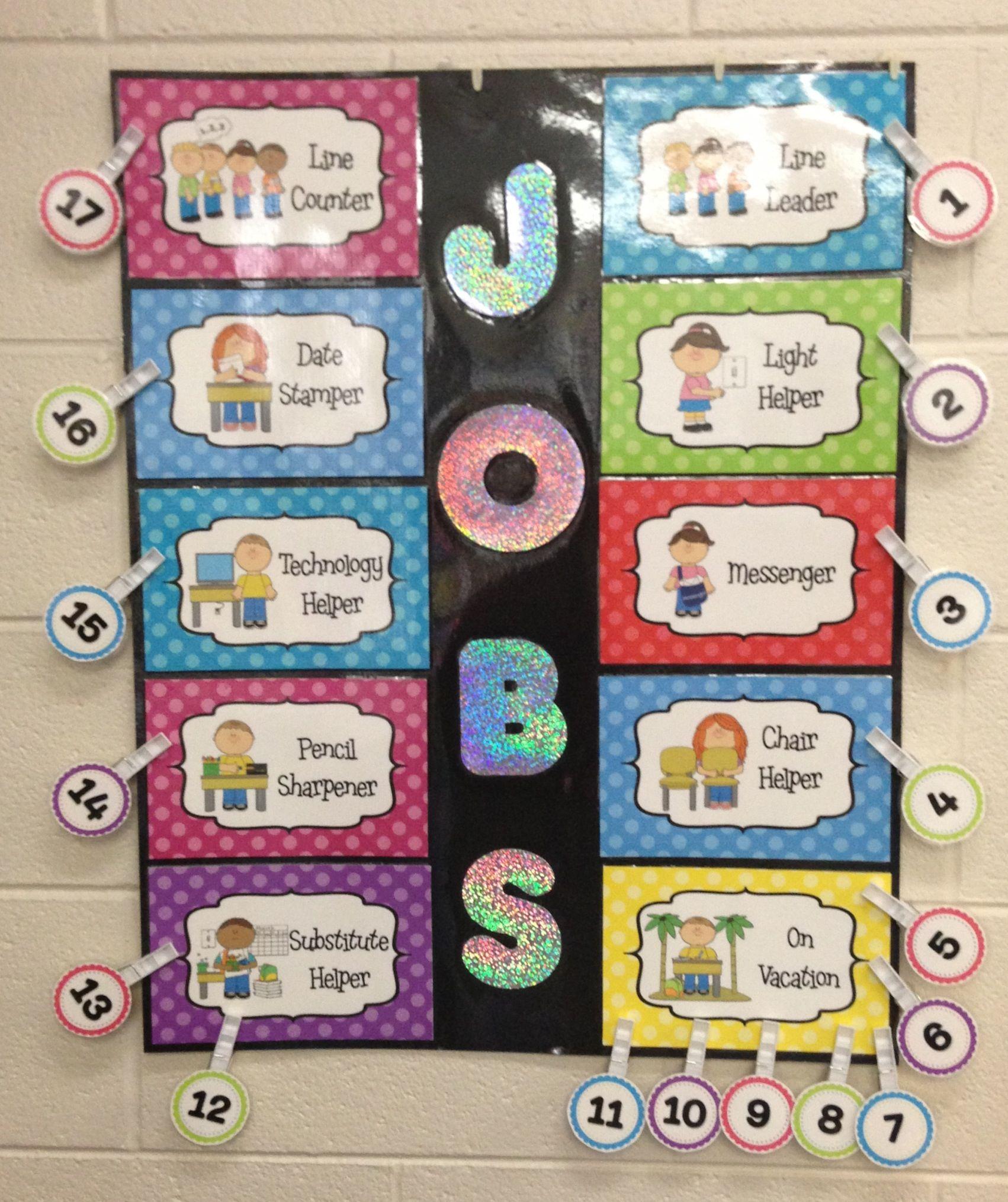 Classroom Helpers Ideas For Preschoolers ~ Job chart quot classroom helpers editable cute polka