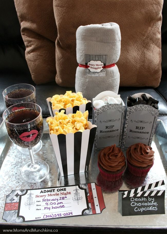 Night ideas are complete with fun printables for  cute date your spouse or customize it tween slumber party  unique at home also scary movie anti valentine rh co pinterest