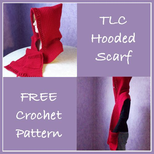 Free Crochet Pattern For A Tlc Hooded Scarf Knitting Pinterest