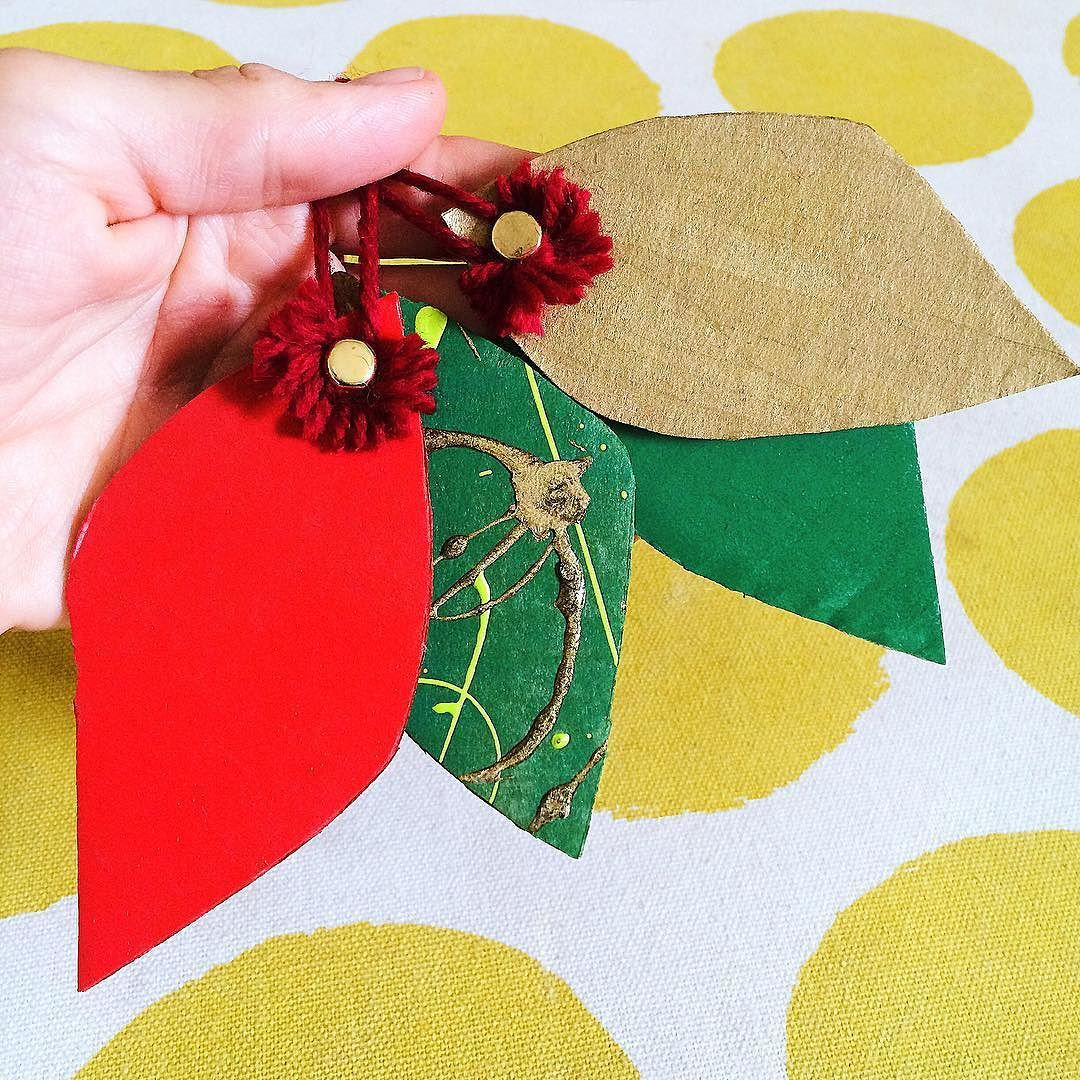 We had some leaves left over from our cardboard wreath so turned them into these super simple tree decorations. Just add a split pin to two leaves and then tie jazz it up with a bit of wool. Done! Now to get the free...