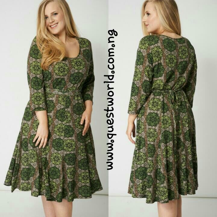 Green Print Belted Dress size 18 #9500 Enter QW1000 and get #1000 off orders above #15000 www.questworld.com.ng pay on delivery in lagos. Nationwide delivery