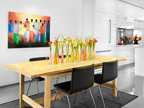 Decoration Vases Of Tulips In A Contemporary Dining E Flowers Whimsical Display Wooden Table Black Chairs Rug Kitchen White Walls Exotic