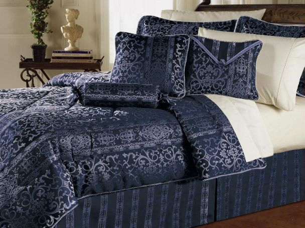 7pc Gorgeous Versailles Navy Blue Comforter Set Queen