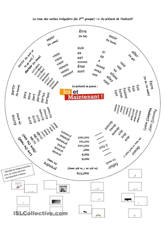 la roue des verbes du troisi me groupe au pr sent de l 39 indicatif french learning pinterest. Black Bedroom Furniture Sets. Home Design Ideas