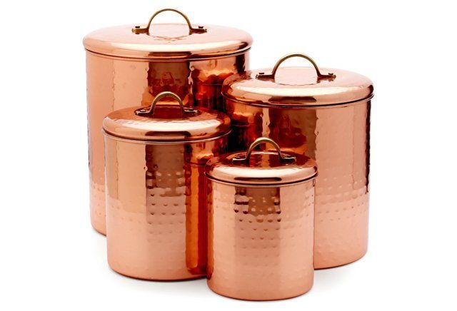 Add This Set Of Four Hammered Copper Canisters To Your Kitchen Counter And You