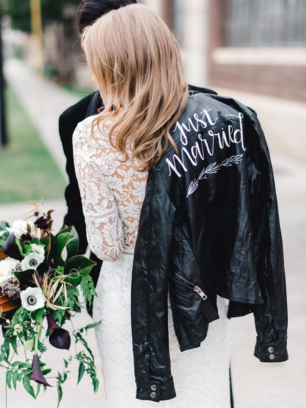 Black Tie Wedding Inspiration With A Show Stopping Nod To Adele Ruffled Winter Wedding Trends Leather Jacket Wedding Bride [ 1333 x 1000 Pixel ]