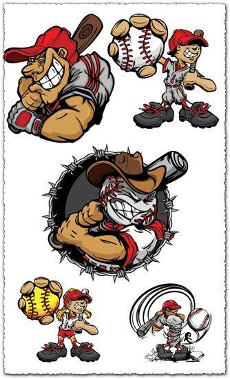 Baseball Cartoon Characters Vector Baseball Pitcher Baseball Costumes Baseball Sticker