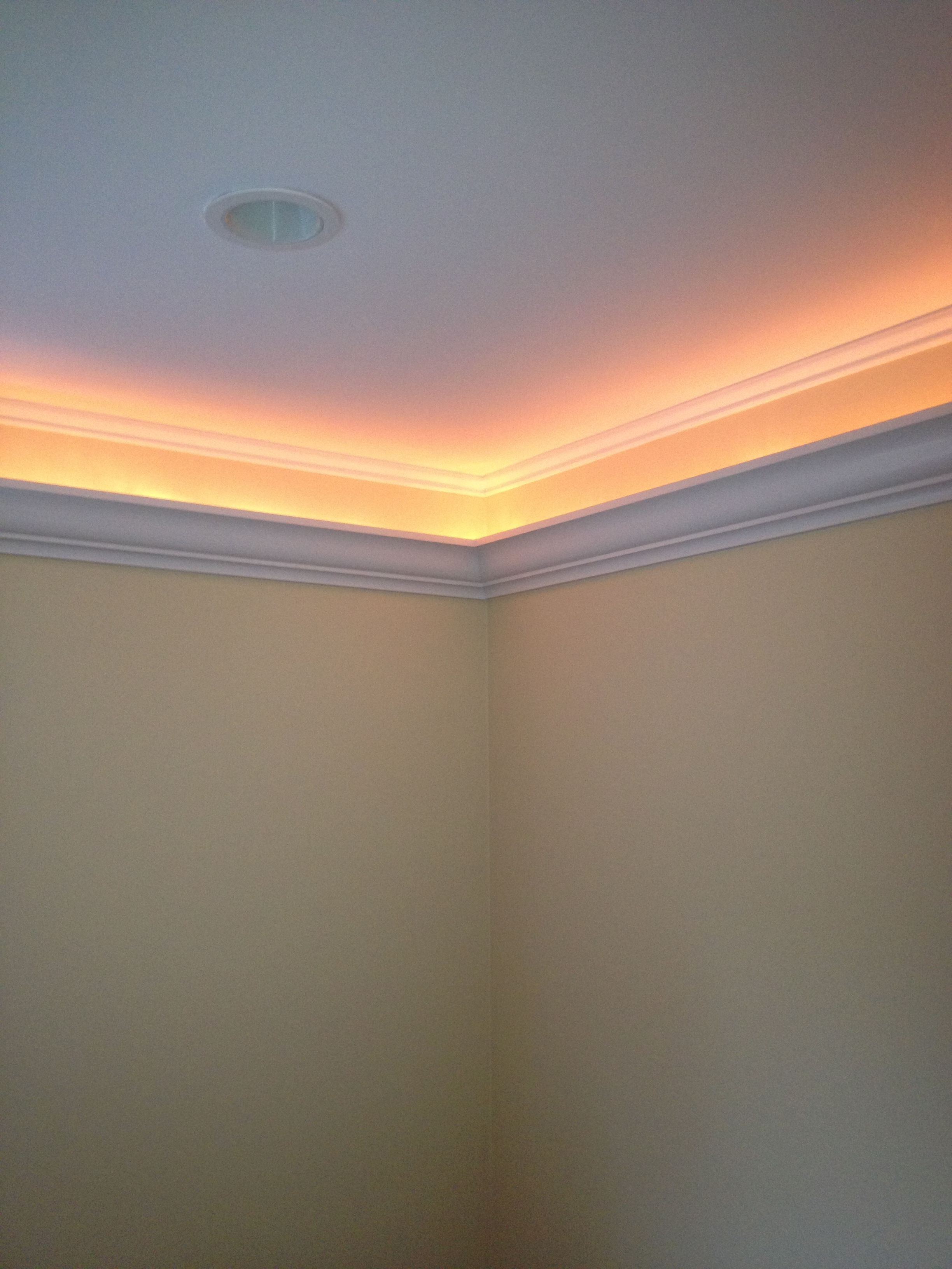 Crown Molding 6 Inches Down Hides A Rope Light Www Brianbbrendle Com Crown Molding Lights Cove Lighting Bedroom Lighting