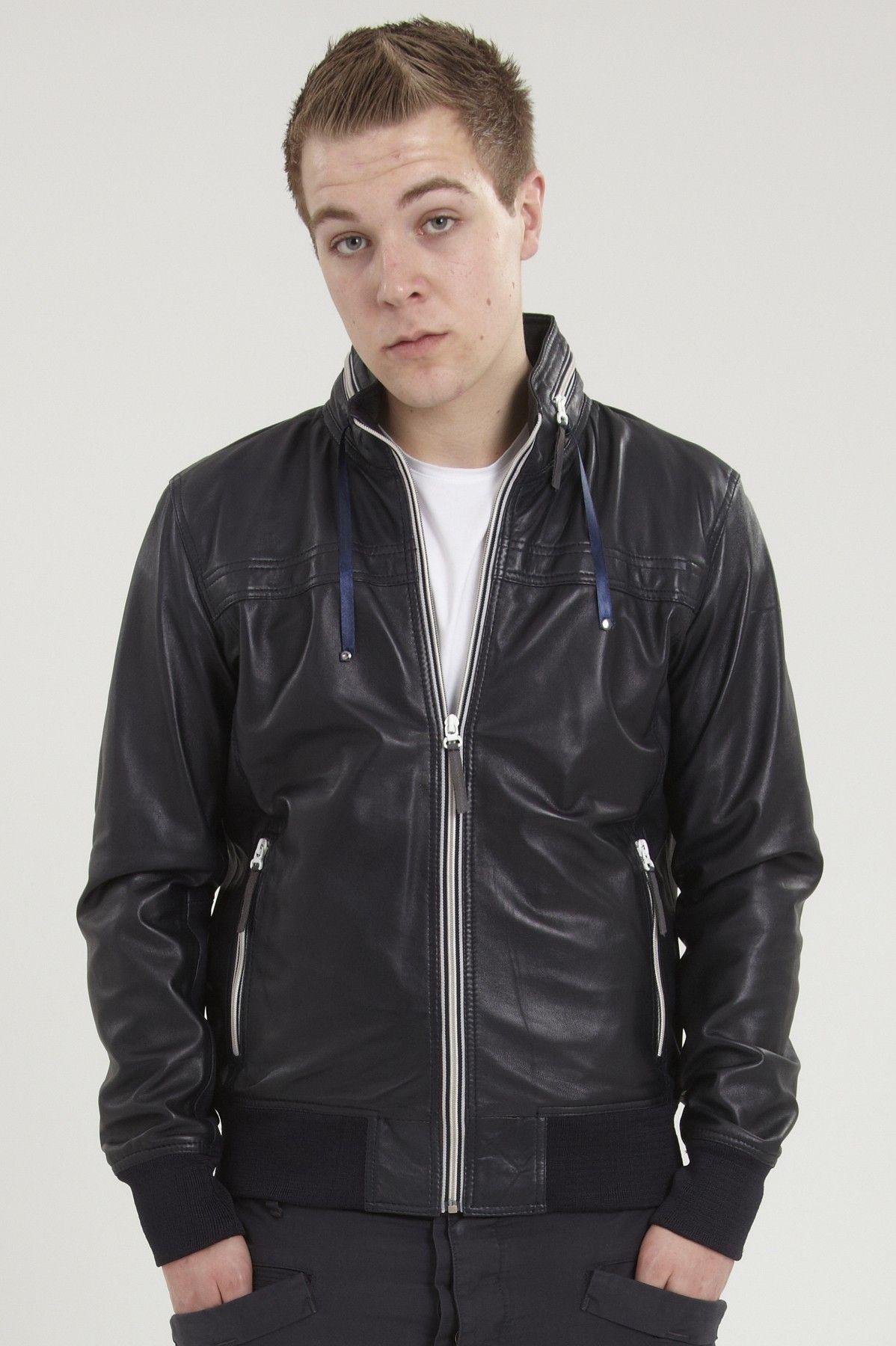 'RETRO' mens navy blue leather bomber jacket. Leather