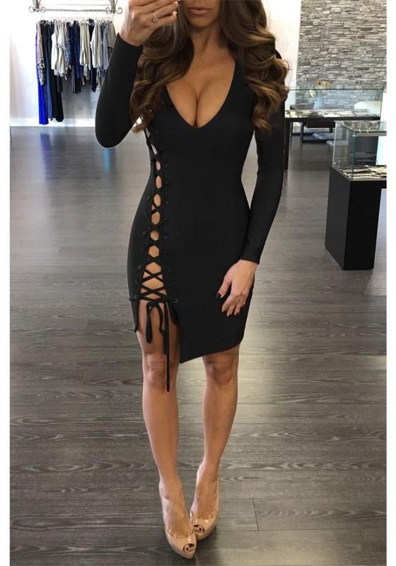 b637296e6598 Black Plain Hollow-out Side Lace-up Slit Deep V-neck Bodycon Clubwear Mini  Dress