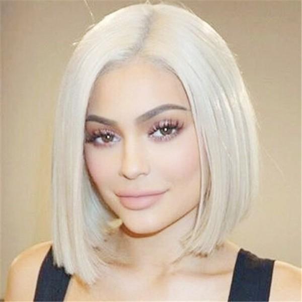 Transparent Lace Color 60 Blonde Bob Lace Front Wig Lfw087 Jenner Hair Platinum Blonde Hair Short Blonde Hair