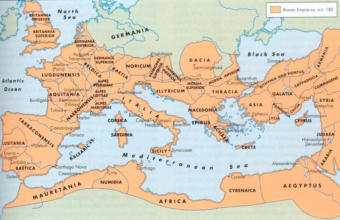 Map Of The Roman Empire In 180 Ad This Is Towards The End