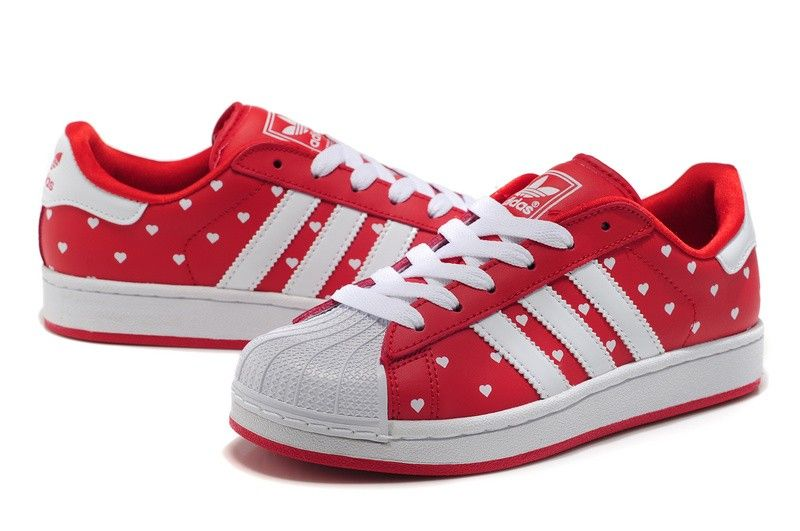 timeless design 594c4 1ed7e Superstar II Polka Dots Heart Womens Shoes - Gym Red Snow White