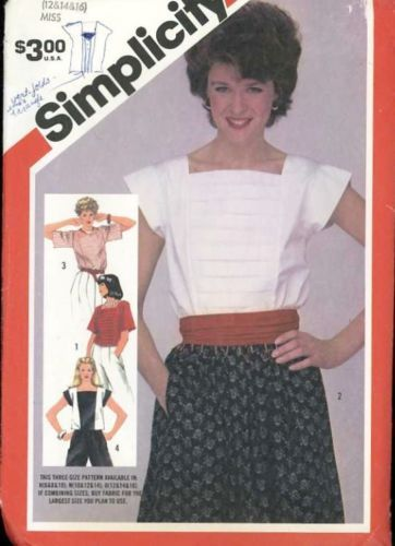 5899 VINTAGE Simplicity Sewing Pattern Misses Pullover Tops w//Square Neckline