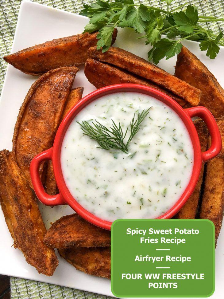 Spicy Sweet Potato Fries Airfryer + Yogurt Dip Just