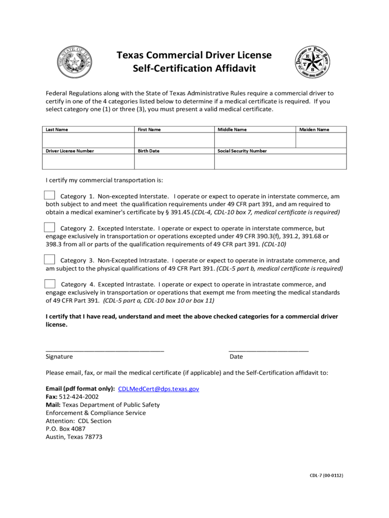 Self certificate form free templates pdf word excel download self certificate form free templates pdf word excel download commercial driver license certification affidavit texas xflitez Image collections