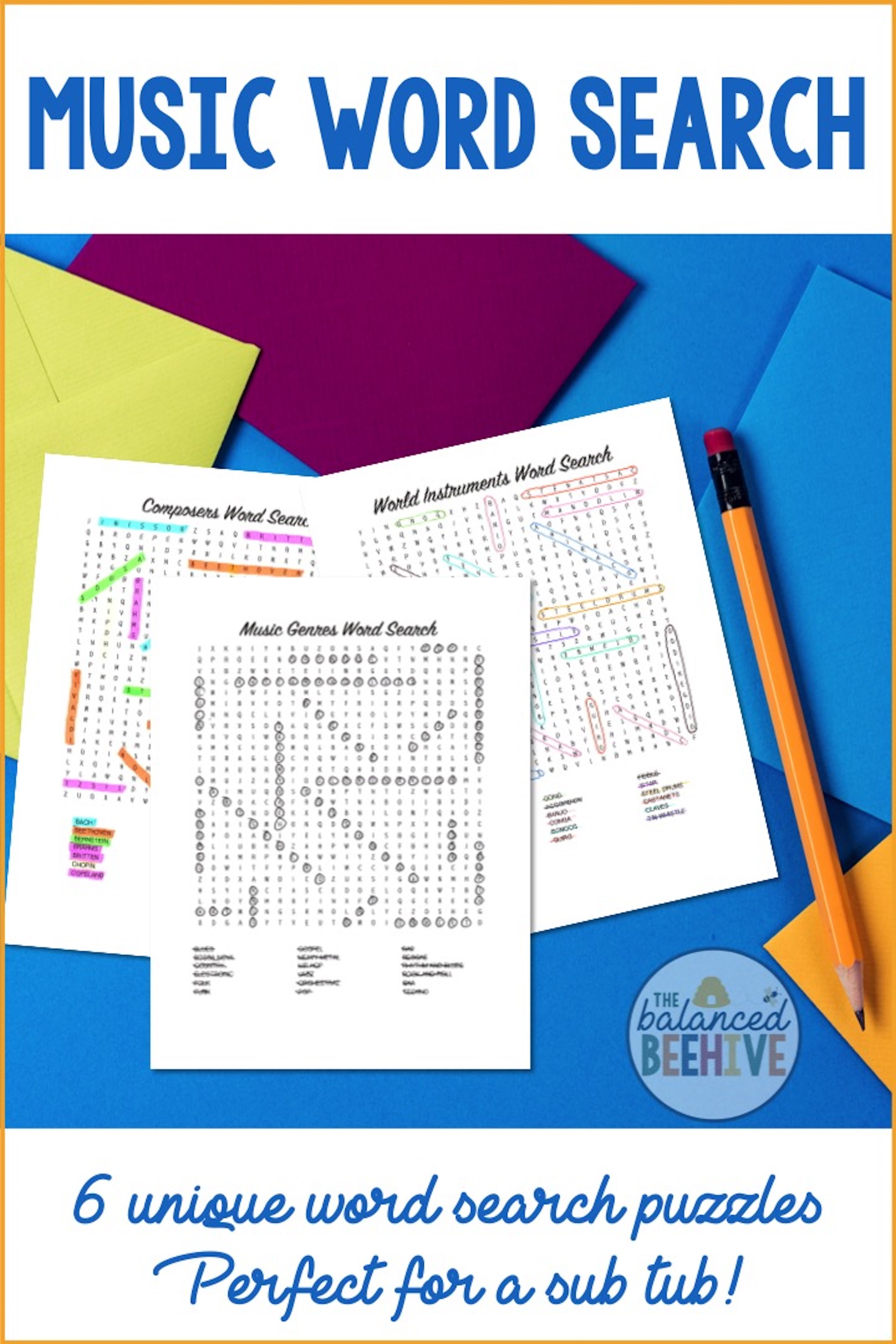 Music Word Search Puzzles