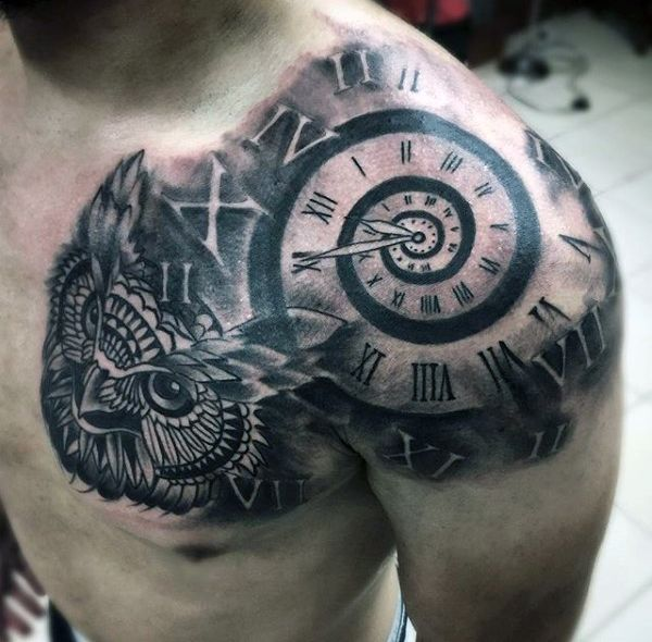 Chest Tattoos For Men Designs Ideas And Meaning: 80 Clock Tattoo Designs For Men