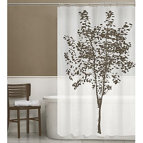 This Arbor Peva Shower Curtain Features A Majestic Brown Tree