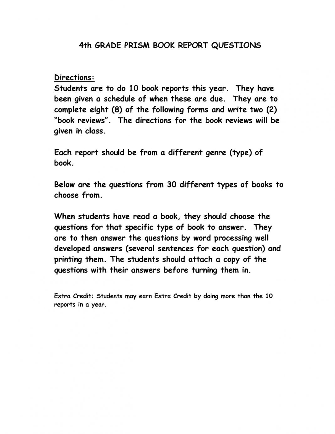 Report Examples 3rd Rade Book Sample Third Template