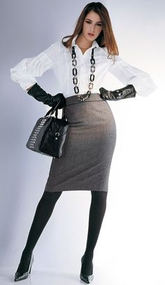 Gray Pencil Skirt White Blouse Black Leather Gloves Black Tights and Black High Heels