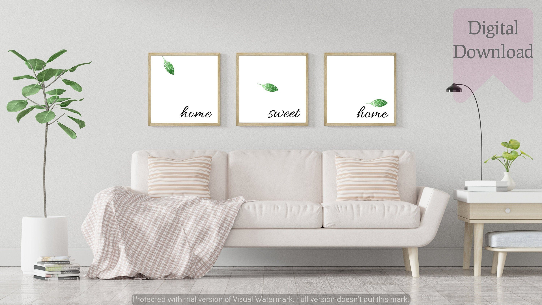 Set Of 3 Green Home Sweet Home Print Green Home Sweet Home