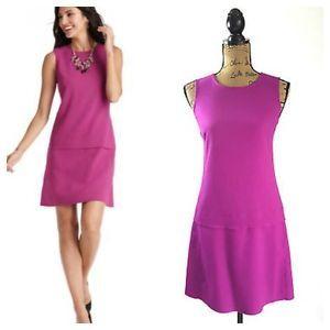 Ann Taylor Loft Pink Purple Orchid Drop Waist Exposed Zipper Dress --- 2P  | eBay