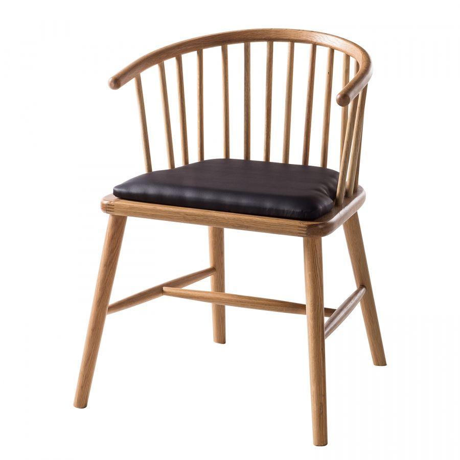 Armlehnenstuhl Fortrose Kunstleder Esche Massiv Dunkelbraun Esche Stuhle Lederstuhle Stuhl Design