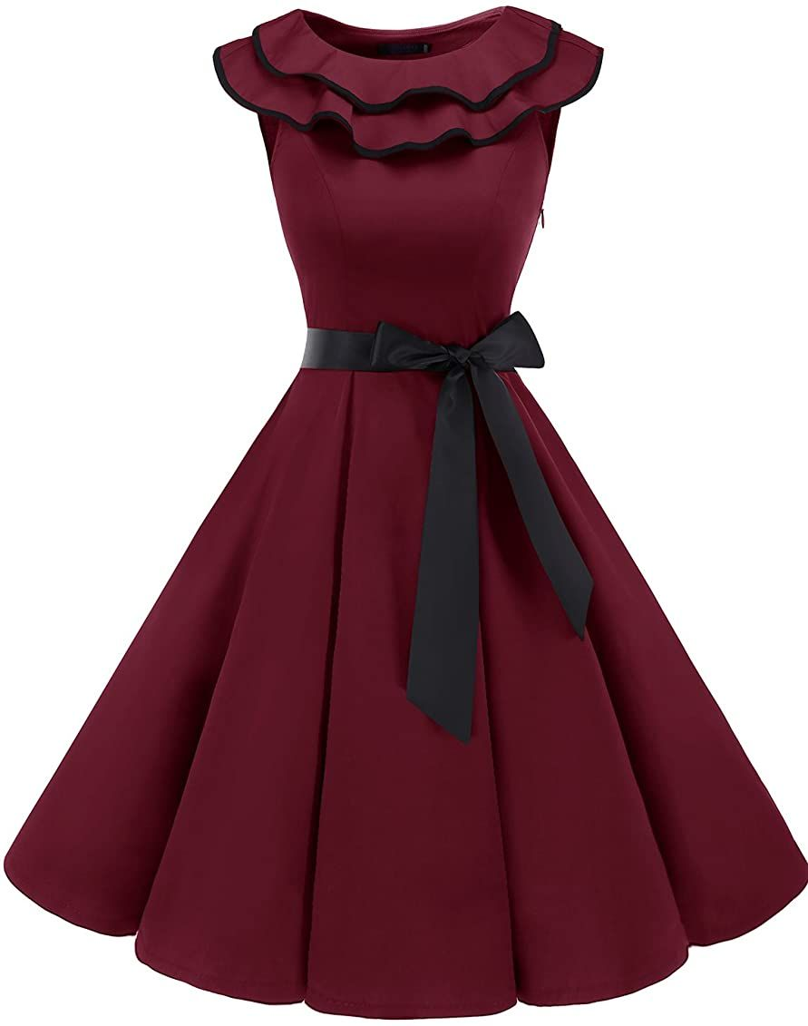 Bridesmay Women S Sleeveless Ruffle Collar 50s Floral Vintage Rockabilly Swing Cocktail Party Dress Blush Xs At Amazo Classy Dress Outfits Classy Dress Dresses [ 1131 x 891 Pixel ]