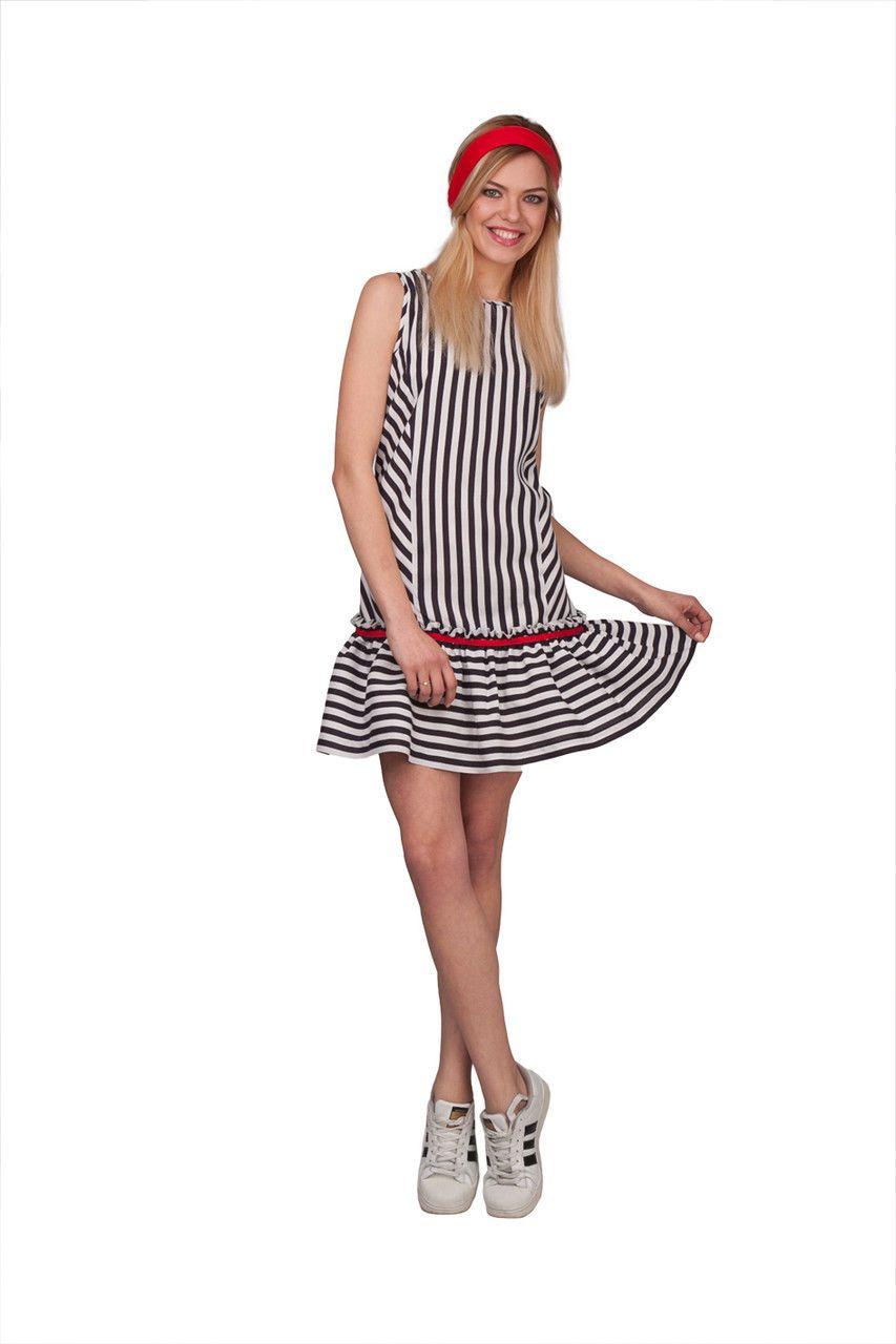afdda1fb63e1e87 Женское стильное короткое летнее платье в полоску с рюшами | Модные ...