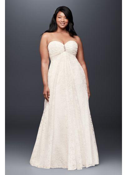 Leaf Lace Plus Size Wedding Dress With Brooch 9op1316