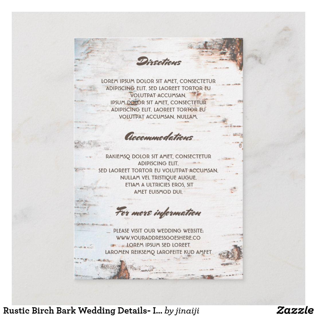 Rustic Birch Bark Wedding Details Information Enclosure Card Zazzle Com Wedding Enclosure Cards Enclosure Cards Wedding Cards