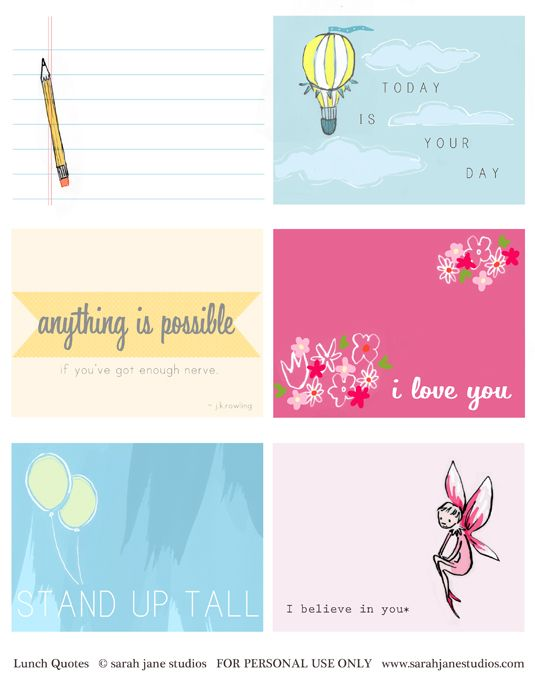 Adorable FREE LUNCH NOTES from Sarah Jane Studios