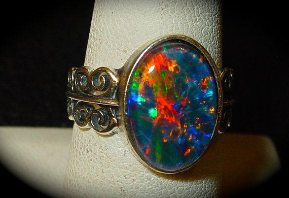 Unbelievable Vivid Fire Opal Ring. Natural Opal by AmyKJewels