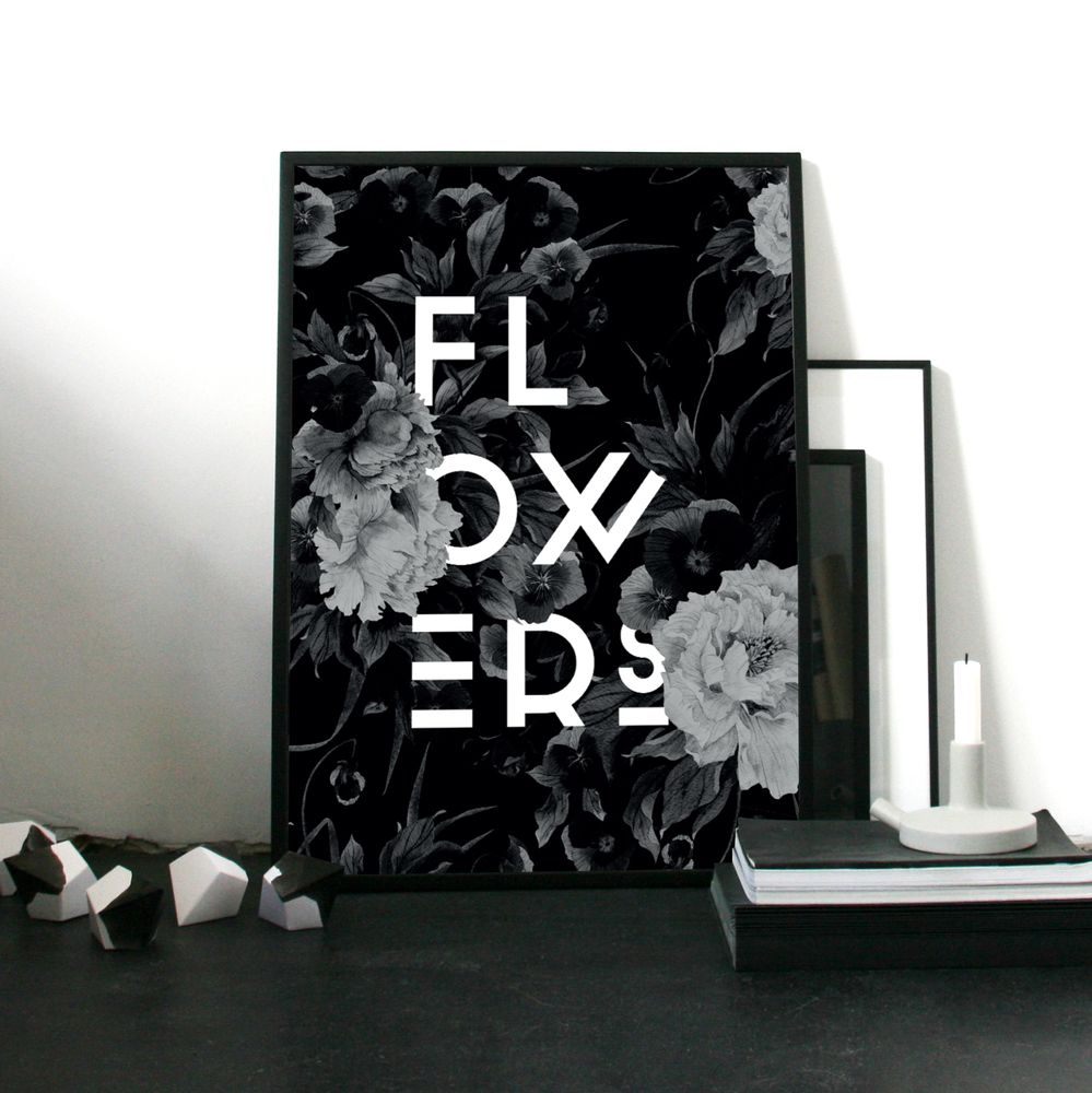 Flower Poster Black White About Graphics Art Prints