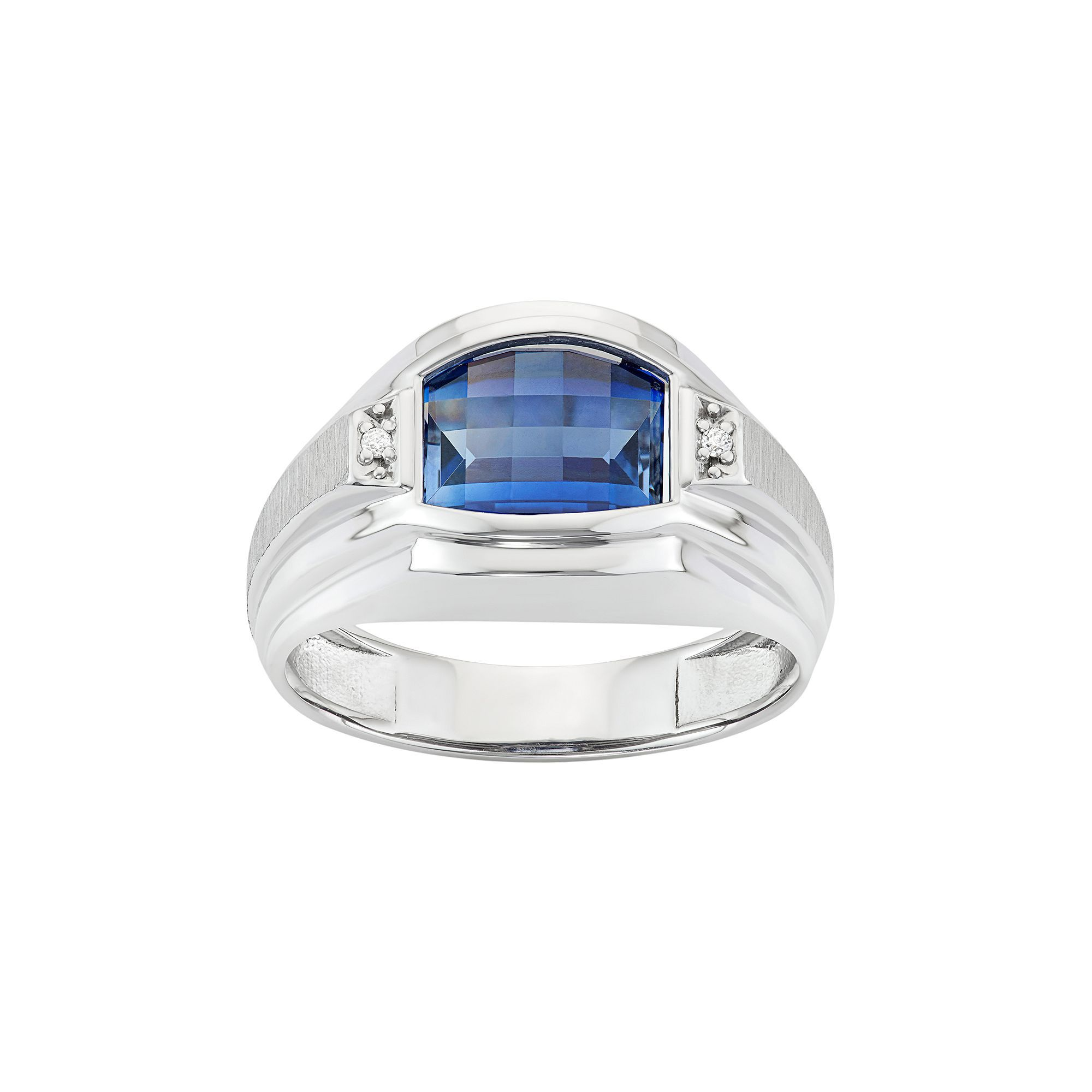 lab rings s ring silver diamond accent created sapphire sterling engagement pin men