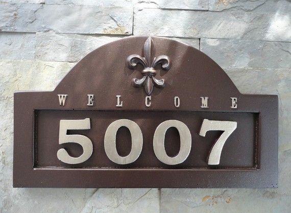 Fleur De Lis House Numbers Address Plaque By Georgiegirlstudios