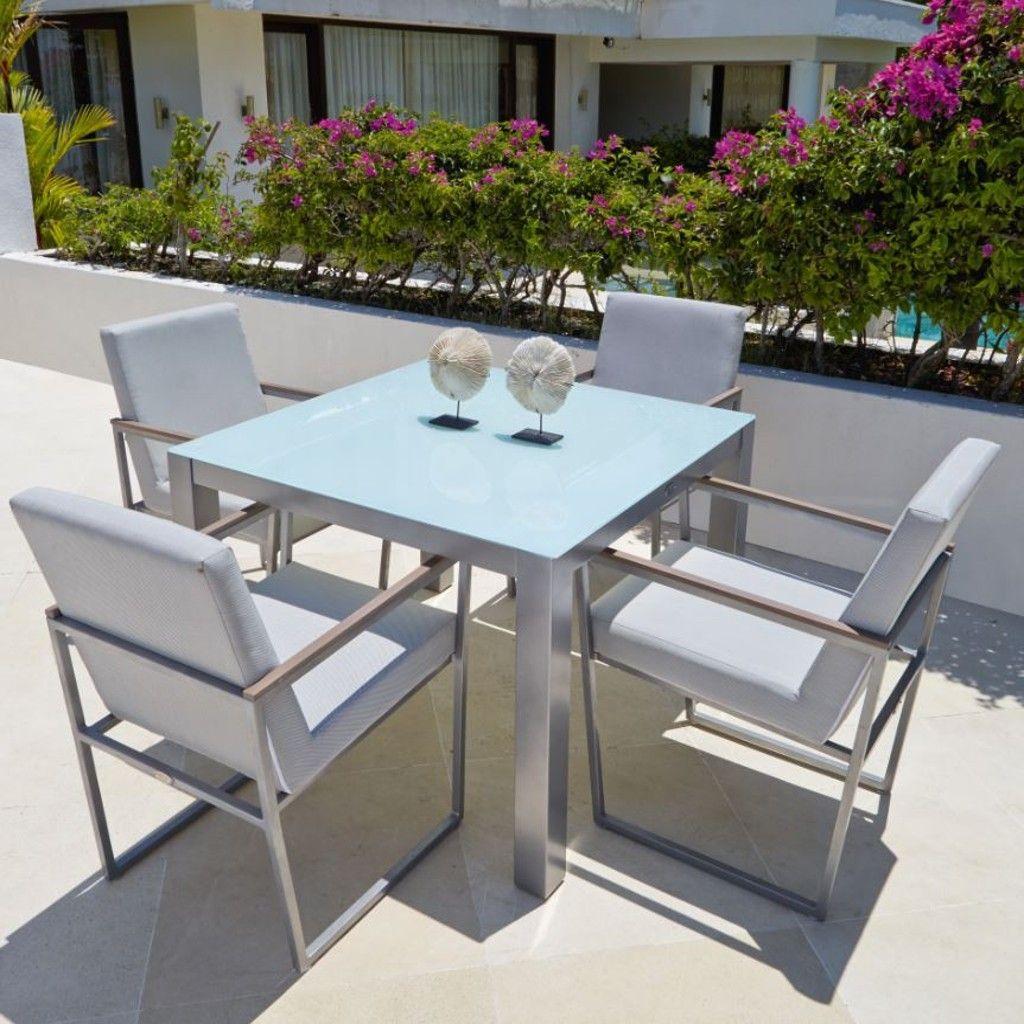 Tavolo quadrato con vetro 100x100, Maldives collection