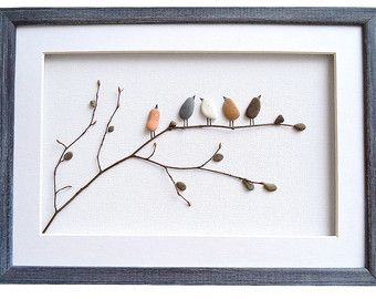 Birds Wall Art pebble art love birds, romantic gift for couple, 3d art, new home