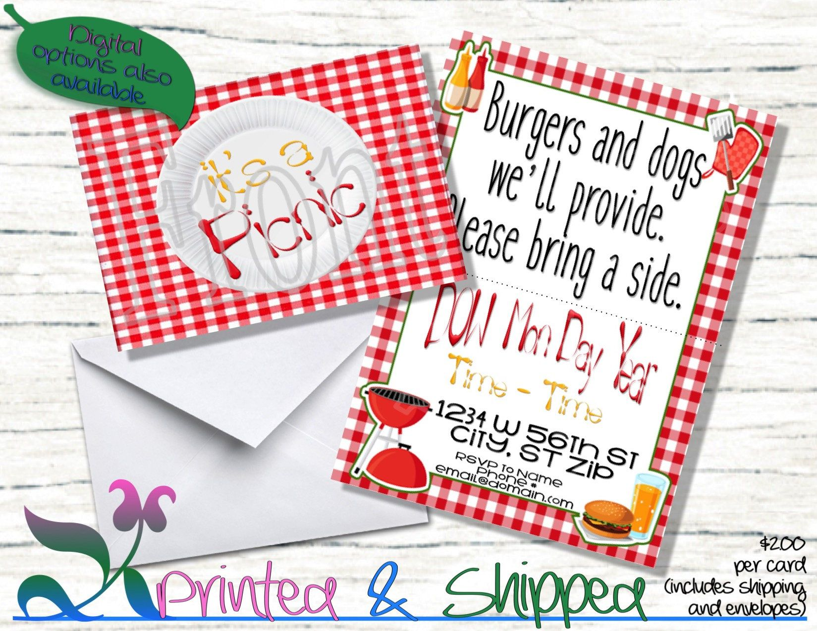 Picnic Invitation Folded Card Postcard Pdf ECard By