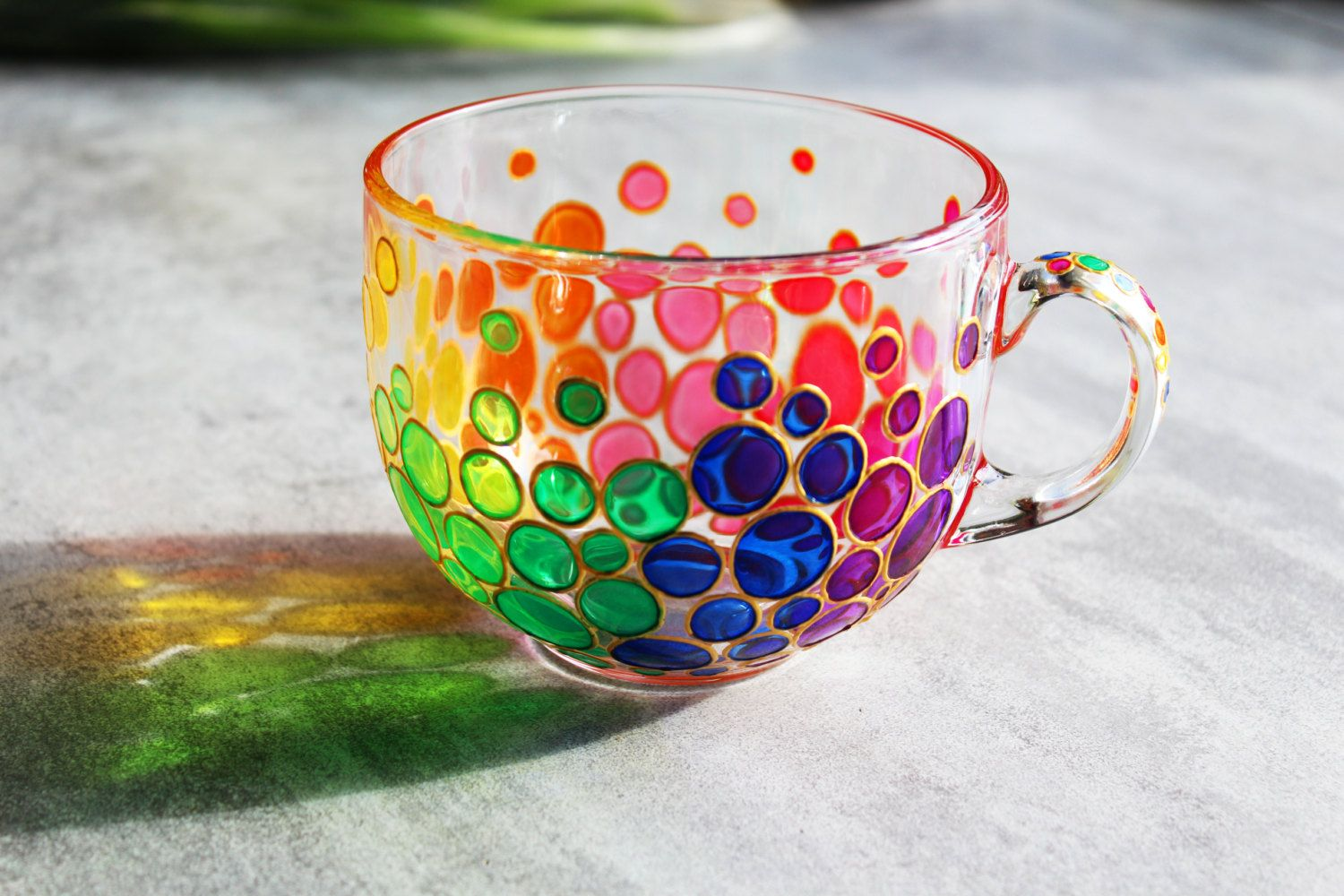Bubbles Big Painted Coffee Mug Colorful Mosaic Cup Rainbow