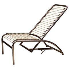 Rene Herbst Nickel Plated Metal Deck Chair Metal Deck Deck