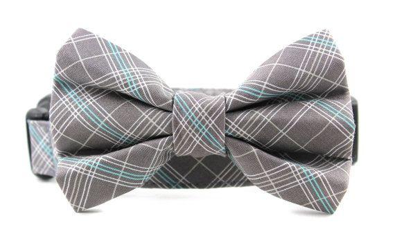 Dog Bow Tie Collar, Rugby Plaid