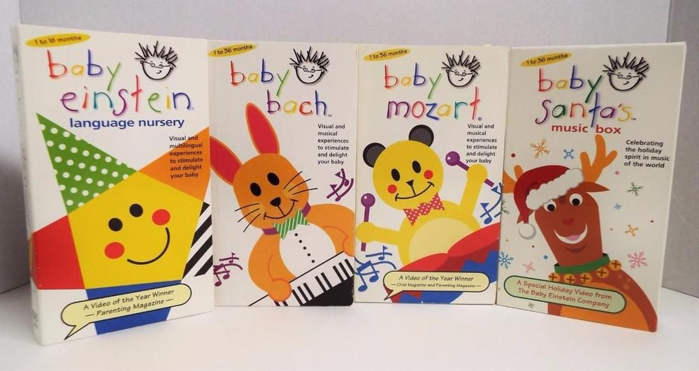 Lot of 4 BABY EINSTEIN VHS VIDEOS Mozart Bach Santas Music Box ALL ...